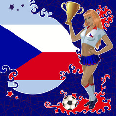 Vector football poster with girl and Czech  flag