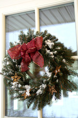 Christmas twig wreath with snow