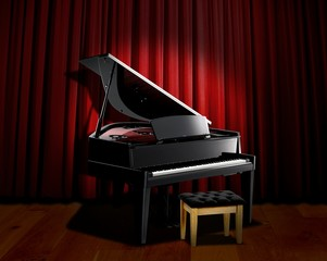 piano spotlight with red curtain