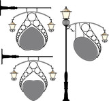 wrought iron streat lamp signage poster