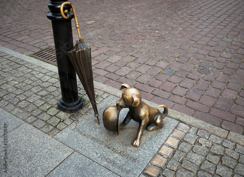 Dog with the hat -sculpture in Torun,Poland