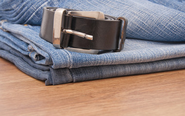 Blue jeans with belt