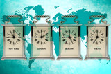 business travel concept. Timezone clocks showing different time poster