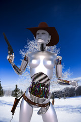robot cowgirl snow
