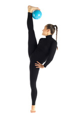 Gymnastic posing split with boll on white