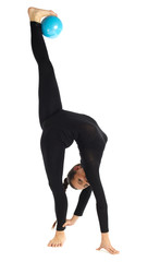 Gymnastic posing split on white