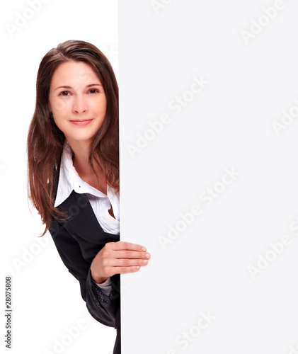 young business woman holding with board