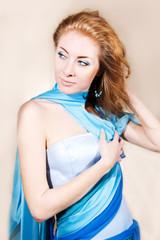 Elegant woman in blue dress