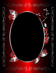 A red and silver floral background