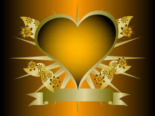 A gothic orange and gold floral hearts design