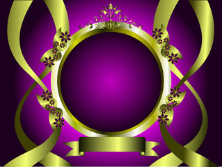 A purple and gold floral design