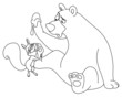 Outlined bear and squirrel