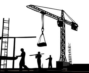 Drei Arbeiter auf der Baustelle