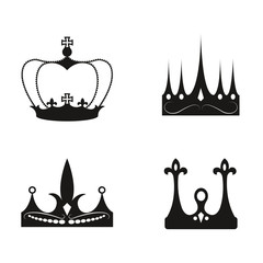 Vector Crown King black Prince Queen Icon
