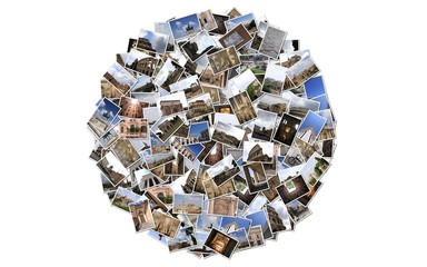 Stack of Roma photos isolated on white background