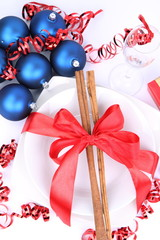 Christmas or New Year's setting -a plate and decorations