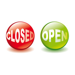 open and closed signs icon vector