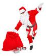 funny pose of santa claus on white