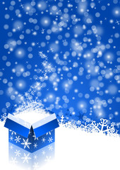 blue christmas background with snowflakes and christmas gift