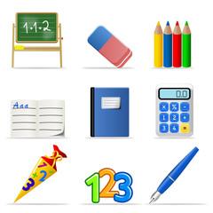 3d Iconset Schule bunt