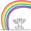 figur unter regenbogen
