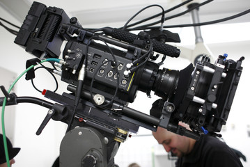 Movie camera on a set