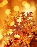 Golden snowflake Christmas tree decorations