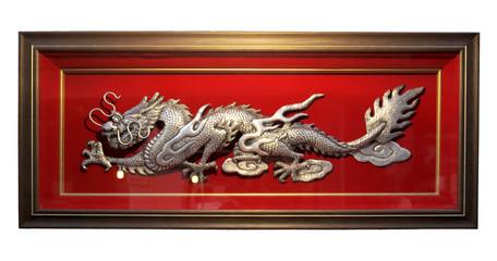 Silver dragon in temple