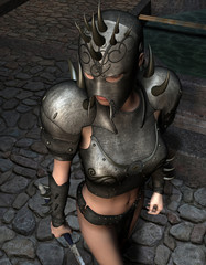 weibliche Kriegerin in Rüstung