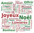 Nuage de Mots Joyeux Noël Fête Lumières Bonheur en Français
