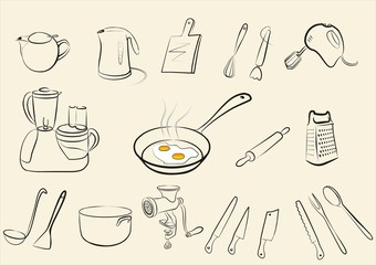 set of isolated tableware and kitchen tools sketch