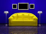 Yellow sofa and picture frames
