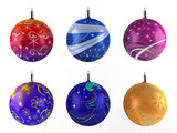 Six christmas balls on white background