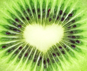 Kiwi fruit close-up. Heart shape