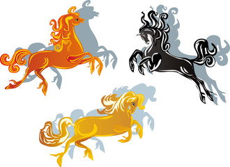three color horses on white