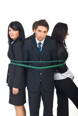 Group of business people tied up