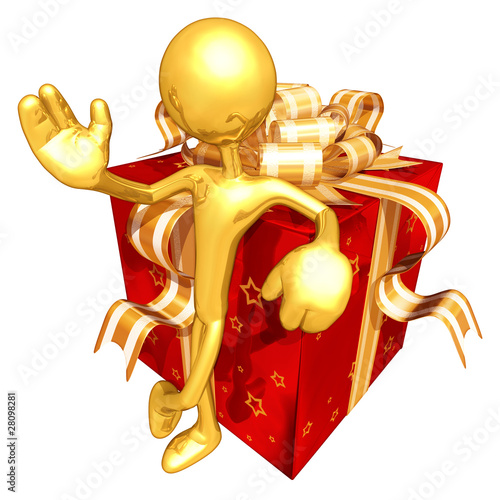 Gold Guy With A Present