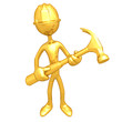 Gold Guy Construction Worker With Hammer
