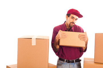 Delivery Boy Strongly hold a Box