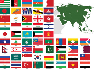 Asia Vector Flags and Maps