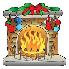 Christmas cartoon fireplace