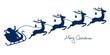 Christmas Sleigh Santa & 4 Flying Reindeers Blue