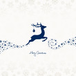 Flying Reindeer, Christmas Ball & Snowflakes Blue