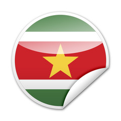 Pegatina bandera Surinam con reborde