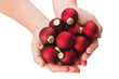 red christmas baubles in hands