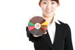 buisiness woman with a data disc