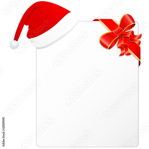 Weihnachtskarte mit Nikolausmütze und dekoschleife