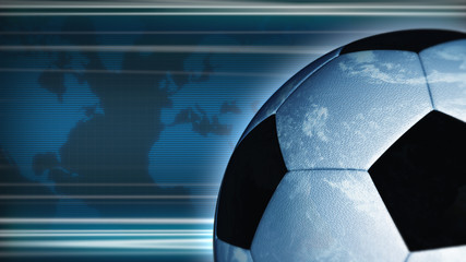 Earth-football, world map is on the background
