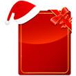 rote Weihnachtskarte mit Nikolausmütze und Dekoschleife
