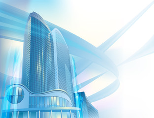 Business background with modern city buildings